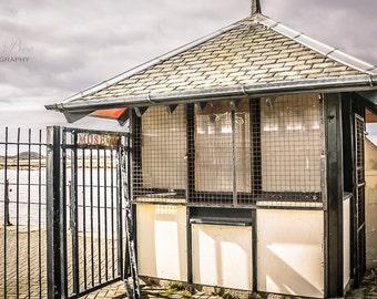 The Kiosk on Irvine Harbour,home decor, seaside,kitchen art,cafe art, nursery art