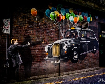 Glasgow Street Art, Taxi, Baloons, Wall Art, Gift for him/Her Green,Blue,Yellow,Orange,Purple