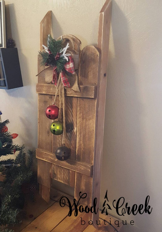 Wooden sled country christmas wooden sled by woodcreekboutique for Decorations you can make at home