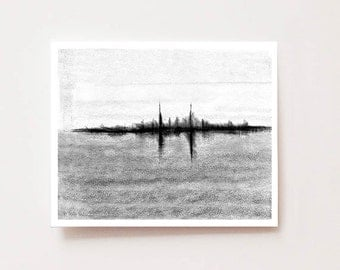 "Charcoal abstract landscape, ""Afar"", Fine art Giclee print, charcoal drawing, black and white, abstract painting, abstract cityscape, modern"