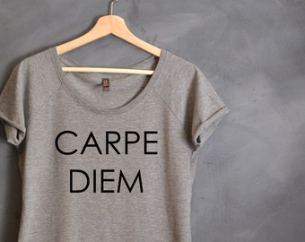 Carpe Diem T-Shirt, Gift for Wife, Gift for Friend, Gift for Girlfriend, Workout Tee, Seize the Day, Motivational T Shirt, Women's Clothing