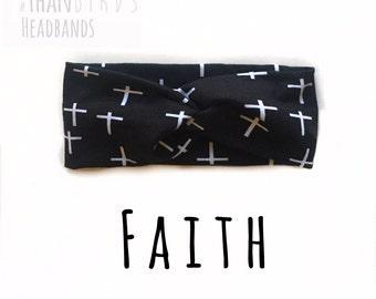 Black & White Crosses Headband- FAITH headband, monochrome turban headband, bw headband, crosses turban, fall knit turban, black headband
