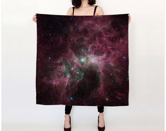 Nebula Silk Scarf, Space Stars Clouds Scarf, Fashion Accessories, Gift for Her