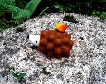 needle felted hedgehog, ooak, felted hedgehog