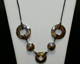 Metal Circle Necklace on Cord
