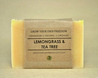 Organic Soap: Lemongrass and Tea Tree Soap || Lemongrass Soap || Organic Vegan Soap