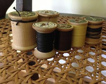 Vintage Clark's Thread Company wooden spools