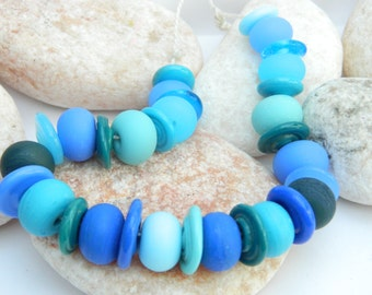 31 Mixed Spacer Bead Set in Beautiful Blues SRA