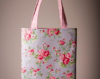 Tote Bag made with Cath Kidston Oilcloth in Spray Flowers Blue approximately 9.5 x 12.5 inches
