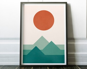 Sunset over the Mountains Minimalist Modern Print, Scandinavian Print, Wall Decor