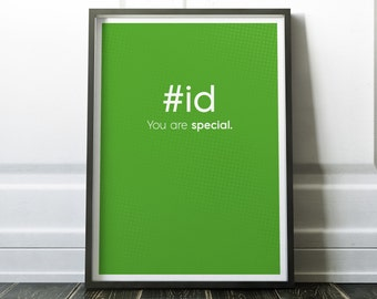 id CSS Code Print, Art Print For Geeks, Web Designers, Wall Art Decor,Office Quote Computer Coding Programming HTML, #id Code