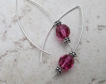 sterling silver long ear wire with pink Swarovski crystal