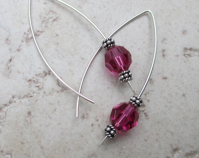 handmade sterling silver long ear wire with pink Swarovski crystal