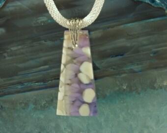 Lavender and Cream Fused Glass Pendant
