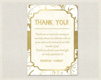 Gold and White Baby Shower Thank You Card Gold and White Gold White Thank You Note Gender Neutral Thank You Card printable DIY Shower BS-80