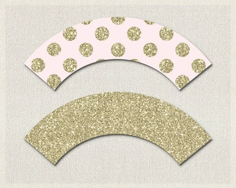 Cupcake Wrappers Gold Pink Glitter Baby Shower Printable Cupcake Wrappers Girl BS-103