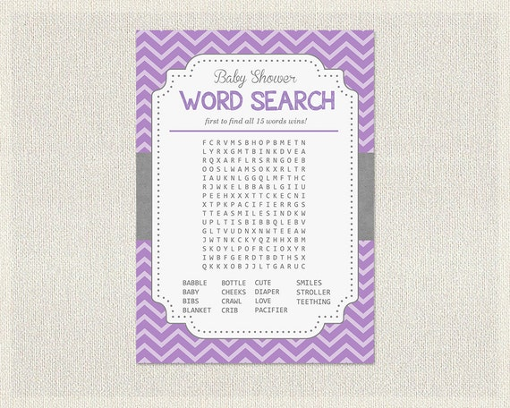 word search purple gray grey chevron purple baby shower games