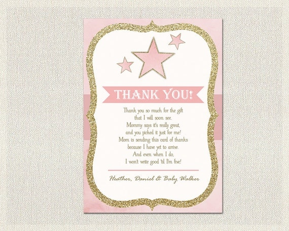 Stars Baby Ser Thank You Card Stars Pink Gold Thank You Note