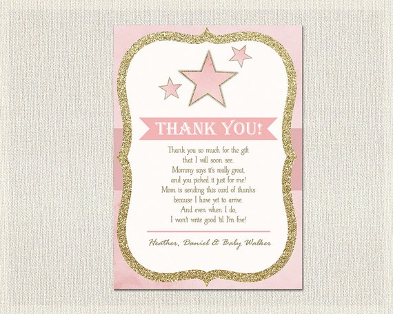 Stars Baby Shower Thank You Card Stars Pink Gold Thank You Note ...