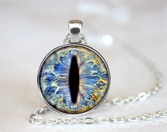 Blue Dragon's Eye Photo Glass Pendant/Necklace/Keychain