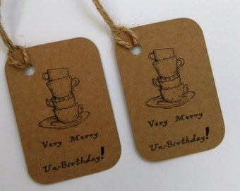 Alice in wonderland tags, Merry unbirthday tags, Tea party tags, Wedding shower tags, Mad hatter tea party tags.