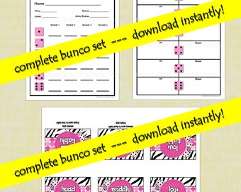 Printable Zebra Bunco Cards