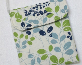 Blue and green leafy sling purse
