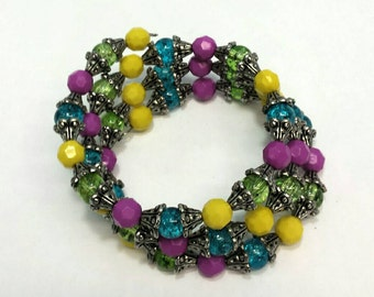 Colorful Memory Wire Bracelet with Glass Turquoise and Lime Green Beads Accented with Fuchsia and Bright Yellow Beads