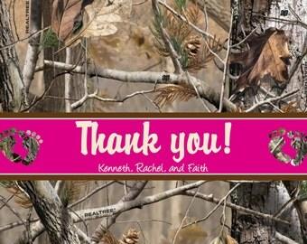 Camo thank you cards - thank you cards - baby shower thank you cards - girl camo thank you cards - pink baby shower thank you card