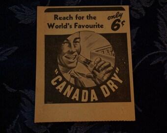Canada Dry Vintage Newspaper Ad, 1940's