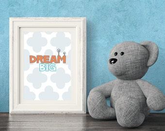 Dream Big,  Digital Print, Wall Art, Printable Art Kids, Wall Decor, Nursery Art, Kids Art, Monster, Clouds, Grey, Blue, Orange, Child
