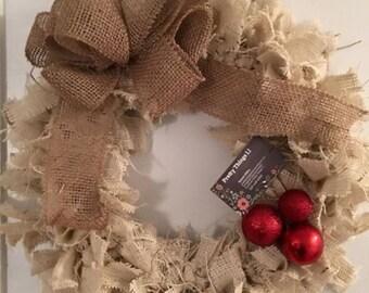 Shabby chic wreath, christmas wreath, burlap wreath,