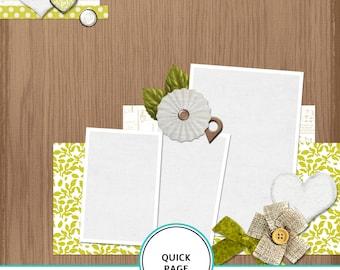 Quick Page - sweet, digital scrapbook template, wood background, premade digital scrapbook paper, 12X12 scrapbook template, fast scrapbook