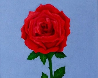 Single red rose, original painting on canvas.