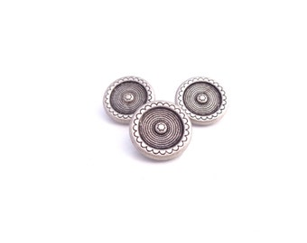 "3 - Bulls Eye Metal Buttons with Shank  5/8"" (15mm)"