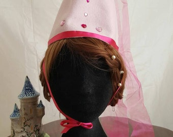 Child's Princess hat/ hennin in felt and organza in light and magenta pink with heart rhinestone deatils