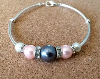 SALE Pink pearl bracelet with rhinestones and silver tubes, beaded pearl bracelet, pink bracelet, pink pearl bridesmaid bracelet