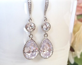 SALE Teardrop cubic zirconia bridal earrings, wedding jewellery, bridal jewellery, cz crystal earrings, wedding jewelry