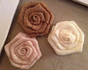 burlap, flower magnets (set of 3)