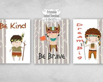 Printable Tribal Boys Nursery Wall Art Decor Be Kind Brave Dream Big Baby ~ DIY Instant Download ~ 3 8x10 Prints