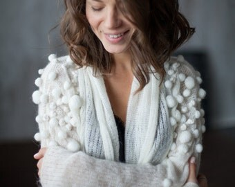 MOHAIR KNIT CARDIGAN asymmetric with stripes