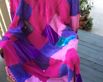Funky Throw in Pinks and Purples
