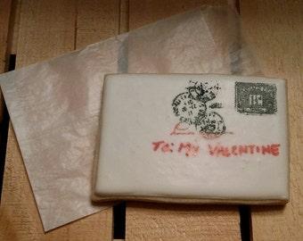 "Valentine's Letter Cookie - Large 4 1/2"" x 3"" cookies.  Half Dozen"