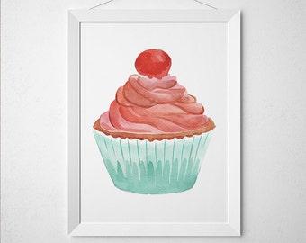 Cupcake decor Watercolor poster Food print Kitchen print ACW620
