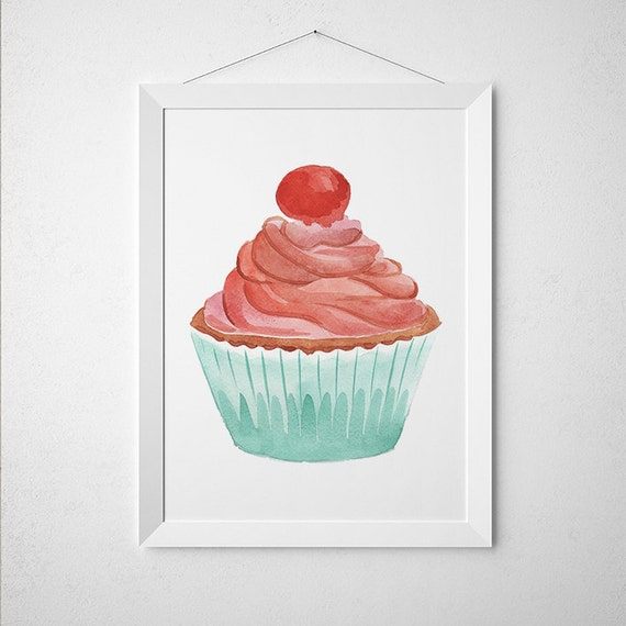 Https Www Etsy Com Listing 262339794 Cupcake Decor Watercolor Poster Food