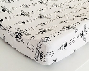 Teepees + arrows Changing Pad Cover, Tribal Nursery, Black and White, changing pad, aztec baby, tribal changing pad cover, monochrome pad