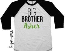 Big Brother shirt -- toddler brother raglan tee -- handmade boy shirt
