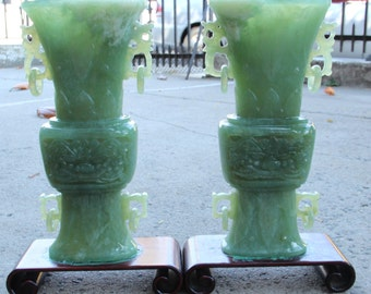 A Pair of Very Beautiful and Large Chinese Jade Vases.