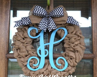 Gorgeous FULL burlap everyday wreath with monogram and ribbon bow in your color choice