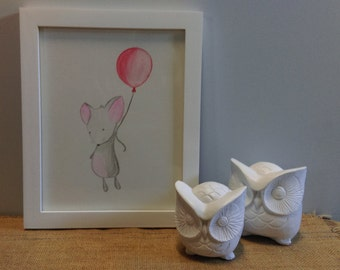 Mouse & Balloon - Framed Original Water Pencils